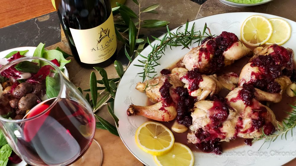 Alloro Pinot Noir with Cornish Game hens with savory berry sauce