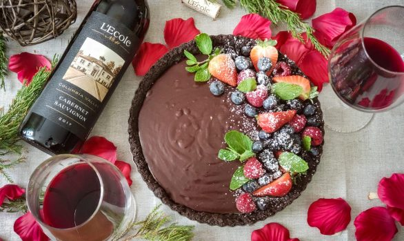 Chocolate Tart with Forest Berries and Lecole Cabernet