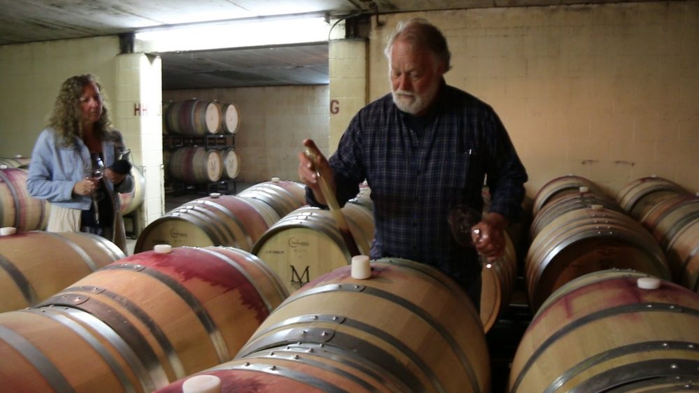 Montinore interview with Rudy Marchesi in barrel cellar