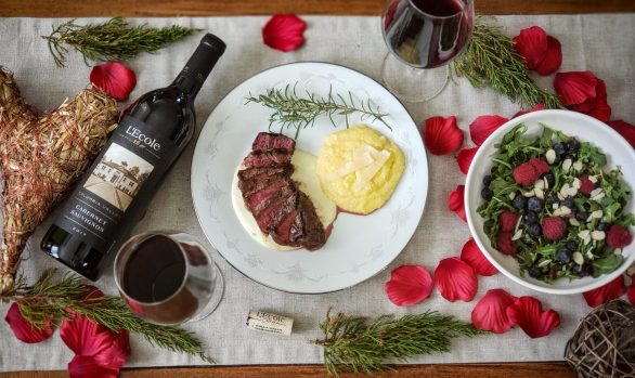 Steak with Gorgonzola and LEcole Cabernet
