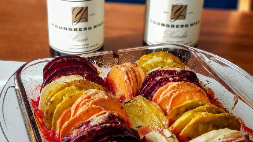 Youngberg Hill Pinots and the finished root vegetable gratin